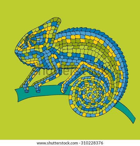 Chameleon sitting on a branch. abstract vector illustrations multicolored mosaic chameleon, lizards, reptiles with small scales painted by hand, pencil, pen.  - stock vector