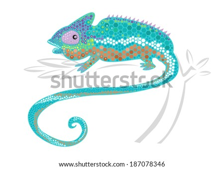 Chameleon with Hexagon Scales. Vector Illustration. - stock vector