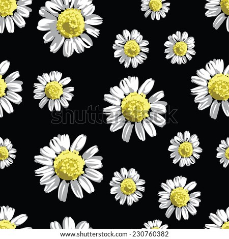 chamomile flowers seamless pattern, vector illustration - stock vector