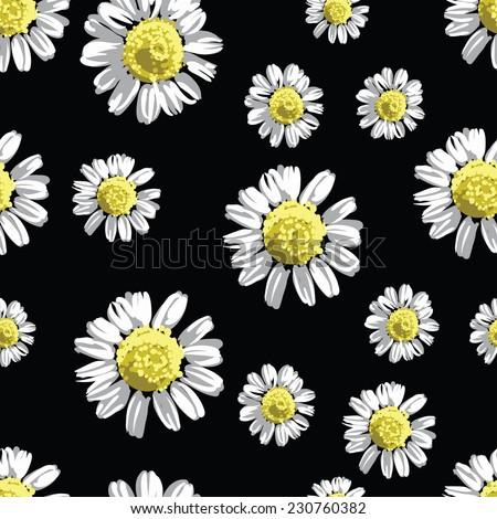 chamomile flowers seamless pattern, vector illustration - stock vector