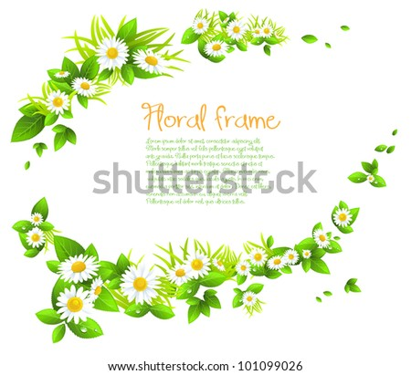 Chamomile  frame with space for text. - stock vector