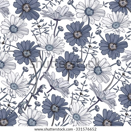 Chamomile. Grass. Wildflowers. Drawing, engraving. Freehand drawing. Beautiful vintage background realistic blooming flowers. White and blue flowers. Flora. Herb. Pharmacy. Vector stock Illustration.  - stock vector
