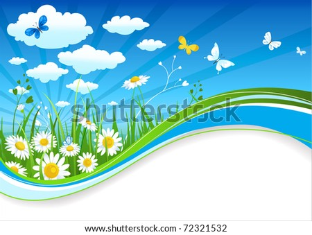 Chamomiles and clouds summer banner with space for text - stock vector