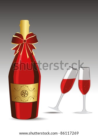Champagne bottle and Glasses vector illustration for new year