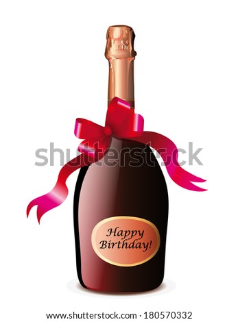 Champagne bottle with red bow on white background, vector illustration   - stock vector