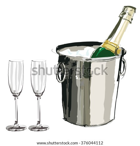Champagne bucket and glasses - Vector illustration