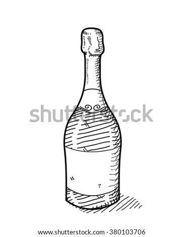 Champagne Doodle, a hand drawn vector doodle illustration of a bottle of champagne.