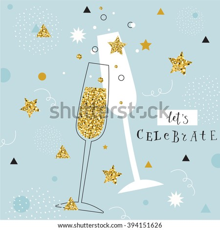 champagne flutes with golden bubbles on minimalistic background with space for text. let's celebrate - stock vector
