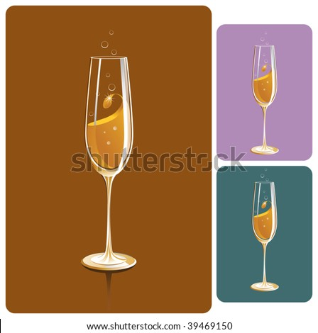 champagne glass - stock vector
