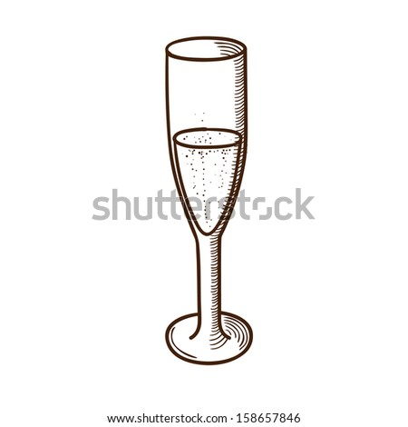 Champagne glass. Christmas and New year design element isolated on white