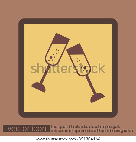 champagne glass icon - stock vector