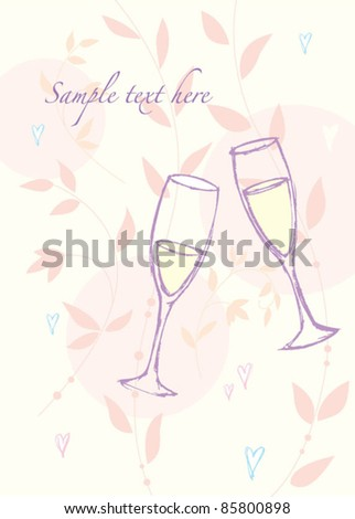 Champagne glasses on floral greetings card - stock vector