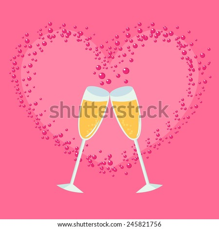Champagne Glasses with Abstract Heart Splash - stock vector