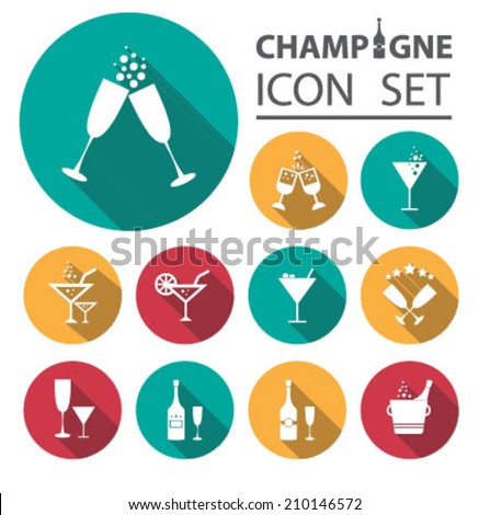 Champagne icons set - stock vector