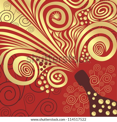 Champagne pattern red and gold vector illustration - stock vector