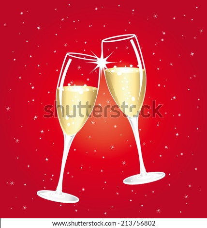 Champagne toast cups. Red starry vector background. - stock vector