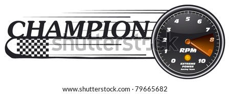 champion banner with tachometer - stock vector