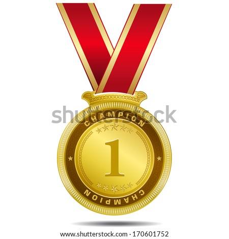 Champion Gold Medal Vector Design - stock vector