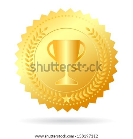 Champion gold medal, vector illustration - stock vector