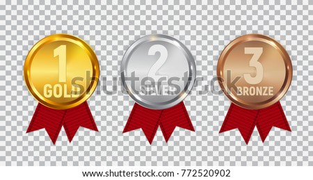 champion gold silver bronze medal red stock vector
