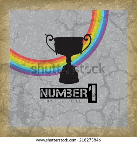 Champion number one. Retro hipster background (EPS10 Vector) - stock vector