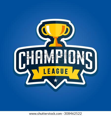 Champion sports league logo emblem badge graphic with trophy - stock vector