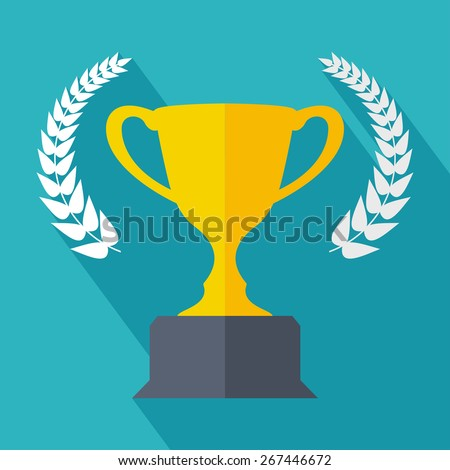 Champions cup in flat style with long shadow. Vector illustration - stock vector