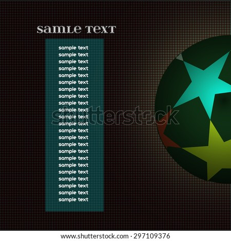 Champions league ball with stars isolated on dark backdrop. Information text board. Colorful Football Soccer ball. Digital background vector illustration. - stock vector