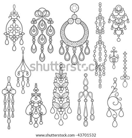 Chandelier Earring Silhouette - stock vector