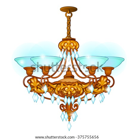 Chandelier for living room in retro style. Vector. - stock vector