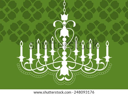 chandelier hanging from ceiling over wallpaper pattern (pattern grouped for other uses)  - stock vector