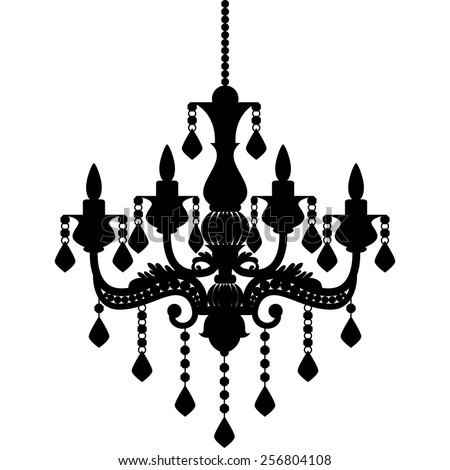 Chandelier silhouette isolated on white background vector de chandelier silhouette isolated on white background vector de stock256804108 shutterstock aloadofball Choice Image