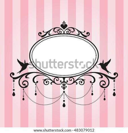 Chandelier Vintage Frame On Pink Stripe Background