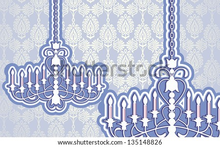 chandelier with damask wallpaper - stock vector