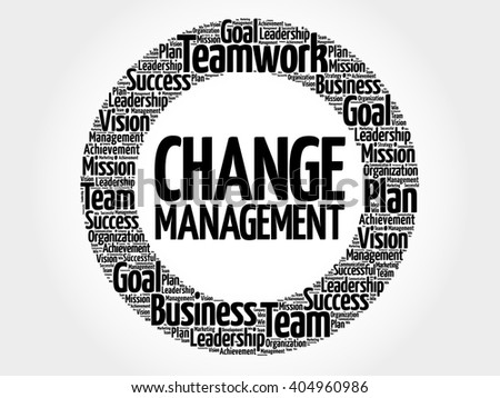 Change management circle word cloud, business concept - stock vector