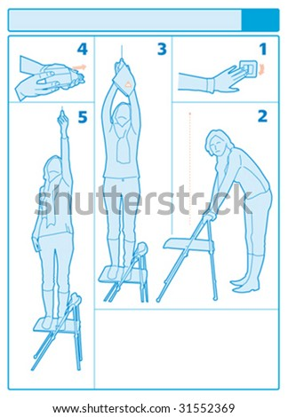 Changing light balb instructions - stock vector