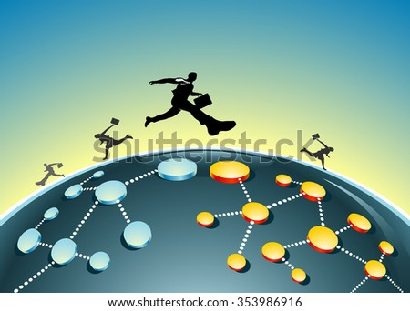 Changing or Expanding Market Connections-Conceptual illustration of businessmen leaping to a different business network - stock vector