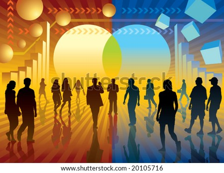 Changing the world. People are going to the changing sign, conceptual business illustration. - stock vector
