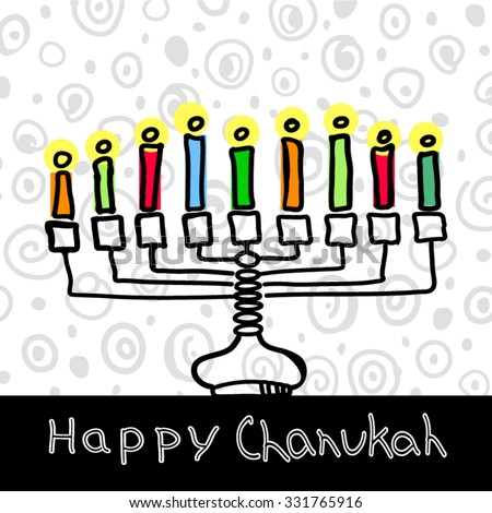 Chanukah hanukkah traditional jewish holiday doodle symbols set isolated vector illustration. Hand drawn sketch menorah with colorful candles - stock vector