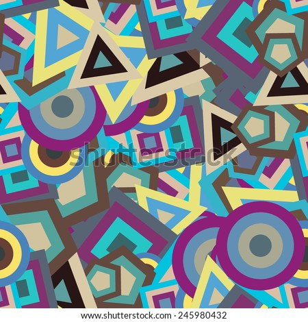 Chaotic geometric seamless pattern. Colored vector shapes - squares, triangles, circles, polygons positioned at different angles. Background on the topic of mathematical figures. - stock vector