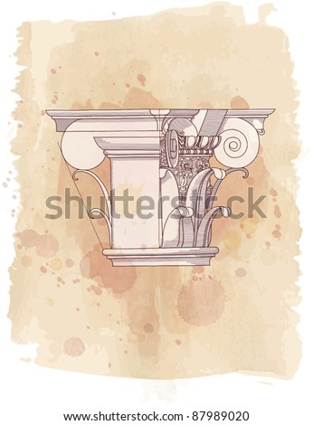 Chapiter- hand draw sketch composite architectural order & vintage watercolor background - stock vector
