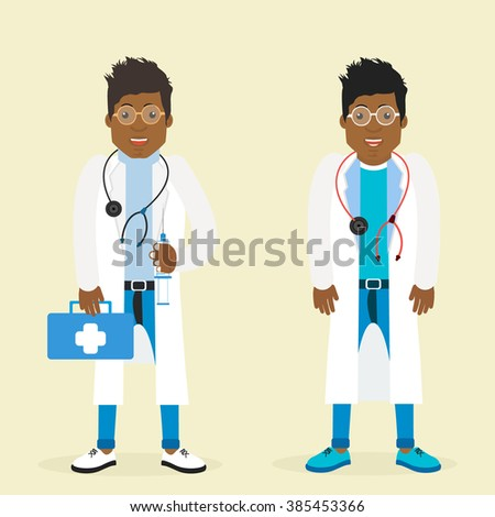 Character black man doctor. Vector illustration of a black man. Character physician. Doctor black man hipster. Vector illustration of a doctor. Doctor with a syringe and a suitcase. - stock vector
