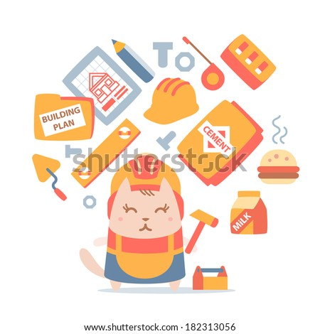 Character builder in helmet and working clothes colorful flat composition of professional accessories. Cat female stands smiling and holding a  hammer - stock vector