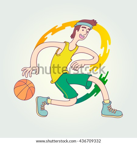 Character cartoon basketball player is moving dribble with a smile. Vector Illustration design template with sports in trendy linear style. - stock vector