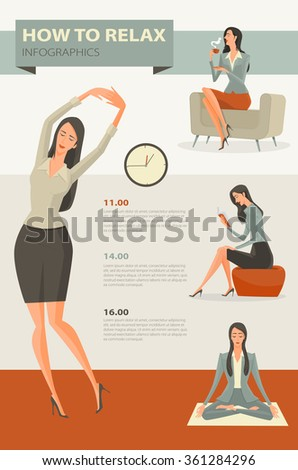 Character cartoon set of businesswoman, Coffee break and relaxing office life. Vector Illustration simple character with flat design. - stock vector