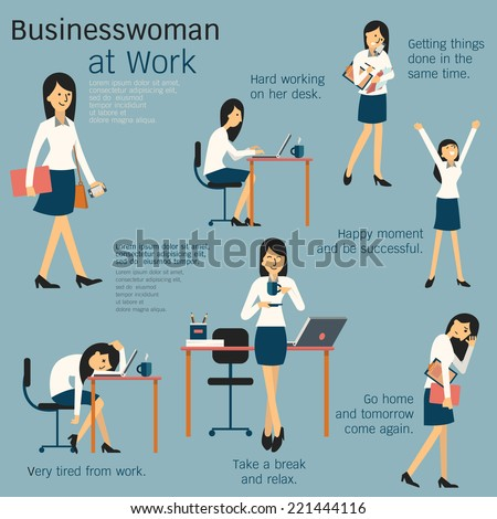 Character cartoon set of businesswoman or office person daily working in workplace, go to work, work on her desk, get tired, happy, take a break, busy, and go home. Simple design.  - stock vector