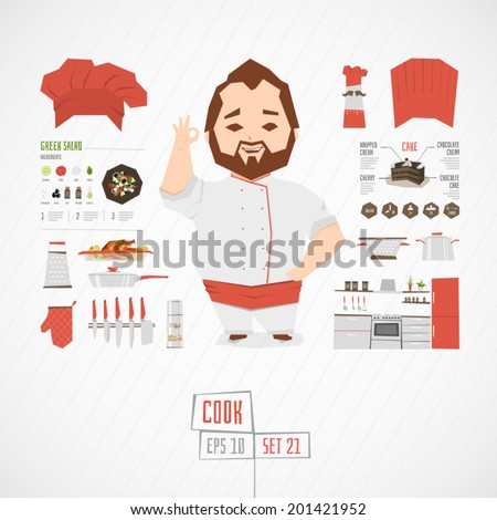 Character cook vector illustration - stock vector