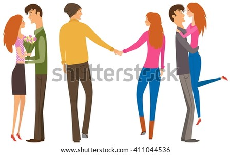 Character couple set with flat design style. Couple of lovers collection, young men and young women set. Redhead women and brunet man. Happy couple collection.  - stock vector