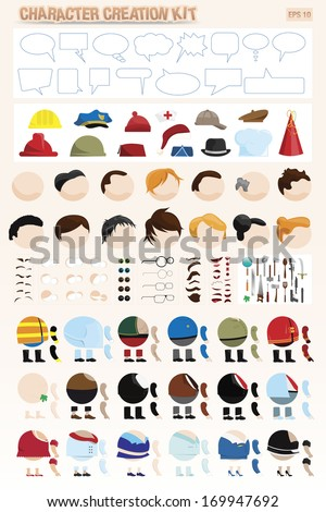 character creation kit - stock vector