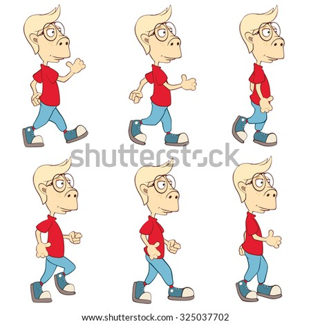 Character Cute Cartoon Boy for a Computer Game Storyboard - stock vector